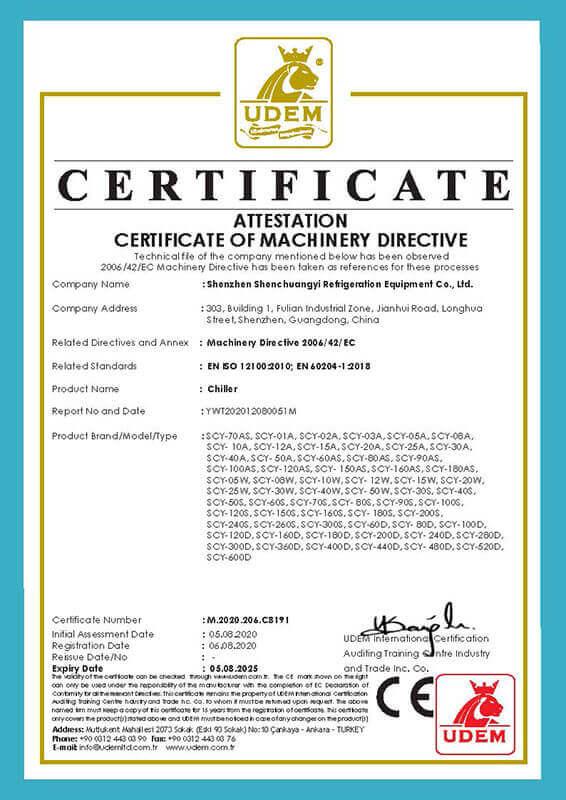 SCY chiller CE certificate 4
